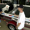 Larry Shipp, left, of Longview, an alternate, visits with Jason Harrington, right, of Marshall, a contestant, after the first day of drawings for the Hands On a Hardbody contest Friday August 17, 2001 at Joe Mallard Nissan in Longview. There were 801 entries for the first drawing. Kevin green
