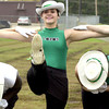 Krystal Thomas a deaf viewette performs her routine during practice Wednesday October 30,2002. Ricardo B.Brazziell