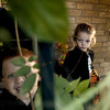 Christian Boring, 3, and Raven Deinbeck, 3, keep watch over a bowl of Halloween treats Tuesday October 29, 2002. Les Hassell