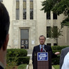 Lt Gov. candidate John Sharp rallys support on the south lawn of the Gregg County Courthouse Thursday 31, 2002 in Longview. Kevin Green