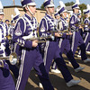Members of hte Hallsville High School Bobcat Band begin their march at the start of the Hallsville Western Days Parade Saturday October 5, 2002. Les Hassell