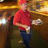 Calvin Halley busses a table at The Depot in Kilgore Thursday October 31, 2002. Les Hassell