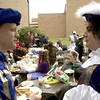 Hallsville High School seniors Daniel Lemon, left, and John Cutheertson, right, visit while dressed in medieval attire Tuesday October 29, 2002 at the high school in Hallsville. Kevin Green