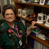 Hallsville High School principal Betty Clark stands in her office next to class school mugs that has been presented to her in the past years.  Clark is retiring after 30 years in the educational field and 5  years as principal.  by DARLENE-6-30-03