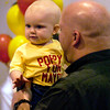 "Wearing his ""Poppy for Mayor"" tshirt, Jonas Roberts, 11 months, shows his support during a fund-raiser for Longview Mayor Earl Roberts Monday March 31, 2003. Jonas is held by his father, David Roberts, son of Mayor Earl Roberts. Les Hassell"