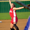 Kilgore's pitcher Mackenzie Sharp starts her wind as she pitches against Henderson during a playoff game held Friday evening April 30, 2004 at Hallsville Ladycat's Field.(Darlene Chapman-Davis/News-Journal Photo)