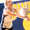 Pine Tree's Casey Castleberry returns a shot during Tuesday's August 31, 2004 game against the Rusk Lady Eagles. (Les Hassell/News-Journal Photo)