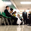 LHS students chat while waiting for the start of Saturday's, February 28, 2004 Senior Celebration at Longview High School. (Les Hassell/News-Journal Photo)