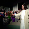 "Donny Lummus ,right, performs as Jesus during rehearsal for a Easter production titled "" Celebrate"" held at Calvary Christian Tabernacle. Wednesday March 312004. Ricardo B. Brazziell"
