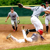 5-30-2004 --- Tyler Boles of Pittsburg dives into first base as Longview's Tate Casey tags him out during the Ryon Simmons All-Star Classic Sunday at Driller Park in Kilgore. JUSTIN BAKER