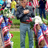 A salute to all veterans ceremony was held Memorial Day  at the Gregg County Courthouse lawn.  D.B. Owens a WWII veteran stands with hand over his heart during the placement of the wreaths near the statue of the Unknown Soldier Monday May 31, 2004.  Owens served in the 43rd division of the Army and the 13th Air Force for a total of five years.(Darlene Chapman-Davis/News-Journal Photo)