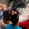 Pine Tree Elementary students greet Santa Clause during the Polar Express Pajama Party on Tuesday afternoon.  During the party the children wore pajamas, made christmas themed crafts, and drank hot chocolate.  (Jennifer Soliz/News-Journal Photo)
