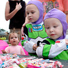 Keeton and Kahnnor Aplin go trick or treating Sunday afternoon during Halloween Family Fun Night held at th First Lutheran Church in Longview.  October 31, 2004.  Michael Cavazos/News-Journal Photo
