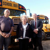 "The Longview Foundation in conjunction with BHJ<br /> Motors is donating two school busses with a combined value of $25,000 to Air Land Emergency Resource Team to be used to transport men to disaster sites for relief efforts.  ""ALERT has done a lot of good, and we are glad to assist them,"" B.H. Jameson said. Leiutenant Randall Switzer left, transportation supervisor of ALERT poses with Jacquelyn Blackshear Jameson, President of the Longview Foundation and her son B.H. Jameson, owner of BHJ Motors.<br /> <br /> <br /> The Longview Foundation in conjunction with BHJ Motors is donating two school buses with a combined value of $25,000 to the Air Land Emergency Resource Team."
