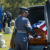 Master Sgt. Nordyica Woodfolk, prepares the casket for removal from the hearse at the funeral for Maj. Arthur Dale Baker, who's plane was shot down over Laos in 1965 during the Vietnam War. The serviceman's body was lost for almost 40 years. Earlier this year, U.S. investigators matched a bone fragment with DNA from his family.  (Kevin Green/News-Journal Photo)