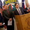 U.S. Attorney Matt Orwig speaks at a press conference about the results of a major drug trafficing investigation in the Longview, TX area Tuesday, March 29, 2005 at the Gregg County Courthouse. 72 arrests made today in Longview, Kilgore, Marshall and Gladewater, TX yielded  36 state and 36 federal indictments. (Les Hassell/News-Journal Photo)