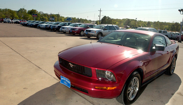 The all new 2005 Mustang on the lot with other vehicles Thursday, March 30, 2005  at Pegues-Hurst Ford in Longview. (Kevin Green/News-Journal Photo)