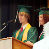 Sean Harman(left) along with Stevie Tippit King(right) both from Overton, give a speech during Graduation Ceremonies on Saturday, May 29, 2005 at Overton School Auditorium in Overton. (Courtney Case/News-Journal Photo)