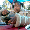 Pinewood Park Elementary 2nd grader Akira Givens makes a squirrel feeder out of a pine cone and sunflowers seeds in the outdoor classroom Tuesday, November 29, 2005 at the school in Longview.  (Kevin Green/News-Journal Photo)
