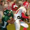 Longview Lobos Cody Williams sacks Mesquite Horn quarterback during action Friday, September 30, 2005 against North Mesquite in Longview.  (Kevin Green/News-Journal Photo) (Kevin Green/News-Journal Photo)
