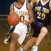 Mount Pleasant's Ashlyn Taylor dribbles the ball downcourt as Pine Tree's Rachel Goodman follows her, during the Jo Ann Sparks Shootout Championship game at Spring Hill High School Saturday, December 2, 2006. (Luisa Morenilla/Longview News-Journal)