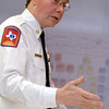 Longview Fire Department Fire Chief Richard Lazarus talks about a safety plan with officials from Good Shepherd Medical Center Monday, January 30, 2006 at Longview's emergency operations center in Longview.  (Kevin Green/News-Journal Photo)