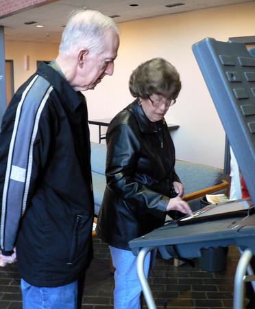 Celia and John Linder visit the Longview News-Journal on Tuesday to test Gregg County's new electronic voting system, which will be used during the March primaries. The Longview couple said the system was much easier than they expected. A mock election will continue at the News-Journal through Friday.(Juan /News-Journal Photo)