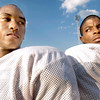 Darius Jones, left and Derrick Sneed, posing at Maverick Stadium Wednesday, Septpember 6, 3006, are rotating quarterbacks on the Marshall High School football team. (Luisa Morenilla/Longview News-Journal)