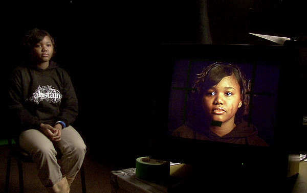 Du Sharme Davis, 15, is filmed as she says a line for a Virginity Rules commercial in Longview.<br /> (scott)