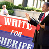 Democrat candidate for Gregg County Sheriff Bobby White speaks during a press conference at the Gregg County Courthouse Wednesday, October 1, 2008. (Les Hassell/News-Journal Photo)