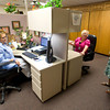 Felecia Gardner, left, Nannette Lambright and Sandra Andrews chat in their cubicals at the Region 7 Head Start building on Danvville Rd. in Kilgore Monday, June 1, 2009. (Les Hassell/News-Journal Photo)
