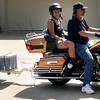 George Cole, of Arlington leaves Donald Reeves home after picking up his custom painted black and copper trailer that matches his 105th anniversary Harley Davidson Ultra Classic Monday, June 15, 2009 at his home in Marshall.  (Don Reeves/Courtesy Photo)