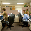 Elaine Kirksey, left, and Felecia Gardner work in their shared cubical at the Region 7 Head Start building on Danvville Rd. in Kilgore Monday, June 1, 2009. (Les Hassell/News-Journal Photo)