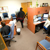 Penny Bing, left, Helen Jefferson and Carol Derieux share office space in what once was the breakroom at the Region 7 Head Start building on Danvville Rd. in Kilgore Monday, June 1, 2009. (Les Hassell/News-Journal Photo)