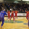 """The Harlem Globetrotters perform their """"Magic Circle"""" routine before a game against the Washington Generals Sunday, January 31, 2010 at Longview High School's Lobo Colisuem. (Justin Baker/News-Journal Photo)"""