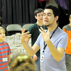 Director Micah Goodding talks to youlth prior to rehearsal Wednesday, June 30, 2010 at Artsview Children's Theatre in longview.  (Kevin Green/News-Journal Photo)