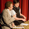 "Critics Birdboot (Mackenna Greathouse, left)and Moon (John Tadlock) discuss the play within the play during the Spring Hill Theatre Department's production of ""The Real Inspector Hound"" Sunday at Spring Hill High School. (Justin Baker/News-Journal Photo)"