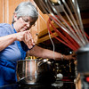 Gayle Raif makes chicken corn potato chowder Friday December 30, 2011. (Michael Cavazos/News-Journal Photo)