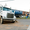 An eighteen wheeler rests at the intersection of FM 850 and TX 135 after being struck by a train, on Friday December 30, 2011, in Overton. (Michael Cavazos/News-Journal Photo)