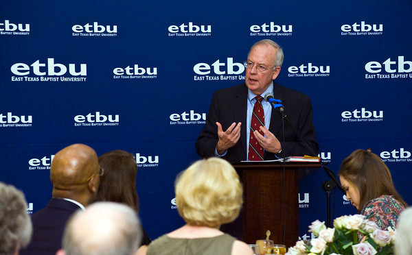 """Baylor University president Kenneth W. Starr gives a lecture entitled """"Faith and Reason in the Public Square"""" at East Texas Baptist University in Marshall Monday, February 28, 2011. (Les Hassell/News-Journal Photo)"""