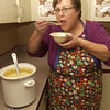 Terisa Kirschke tastes her broccoli soup Sunday at St. Michael and AAll Angels Episcopal Church. (Justin Baker/News-Journal Photo)