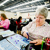 Susan Dehoff and Janet Westberry play bingo at the Longview Bingo Center on Thursday March 31, 2011. (Michael Cavazos/News-Journal Photo)