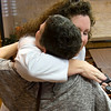 Nurse practitioner Monica White, right, gives cancer survivor Kimberly Scherrer a hug Tuesday, November 1, 2011 at Texas Oncology. (Les Hassell/News-Journal Photo)