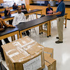Seventh grade science teacher Bill Rusell teaches as unpacked boxes sit on the floor during class Monday, Nov. 1, 2011, at Judson Middle School in Longview.   (Kevin Green/News-Journal Photo)