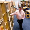 Principal Brian Kasper stands in the temporary library as the books are boxed up in shelves  Monday, Nov. 1, 2011, at Judson Middle School in Longview.   (Kevin Green/News-Journal Photo)
