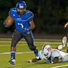 Beckville's Jarvis Walls races toward the sideline during Friday's Sept. 30, 2011 against Elysian Fields. (Les Hassell/News-Journal Photo)