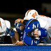 Beckville's John Kyle Kirkland gets tackled in the endzone for a safety during Friday's Sept. 30, 2011 against Elysian Fields. (Les Hassell/News-Journal Photo)