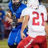 Carlisle's Gunner Baker looks for a way past Dallas First Baptist defender Ben Ackley during a game Friday, September 30, at Carlisle. (Justin Baker/News-Journal Photo)