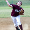 Atlanta's Ashlyn Dodson throws the ball to first during action against Gladewater Monday, April 30, 2012, at Lear Park in Longview.  (Kevin Green/News-Journal Photo)