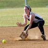 Gladewater's Katy Stephens fields a ball during action against Atlanta Monday, April 30, 2012, at Lear Park in Longview.  (Kevin Green/News-Journal Photo)